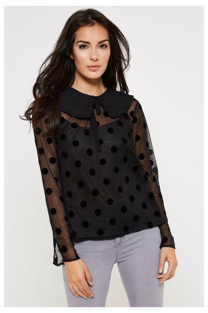 Fashion Union Sheer Polka Dot Shirt - Black