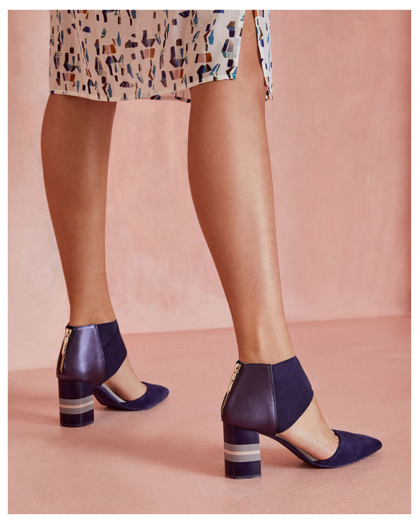 Ted Baker Pointed suede cut-out heels Navy