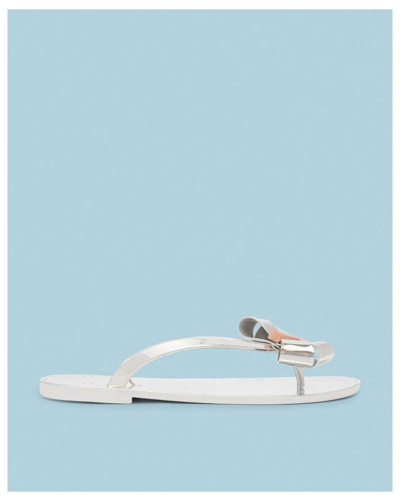Ted Baker Bow detail flip flops Silver