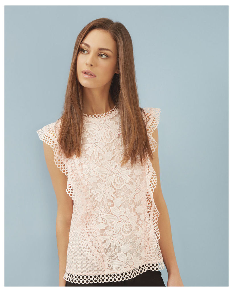 Ted Baker Ruffle lace top Baby Pink