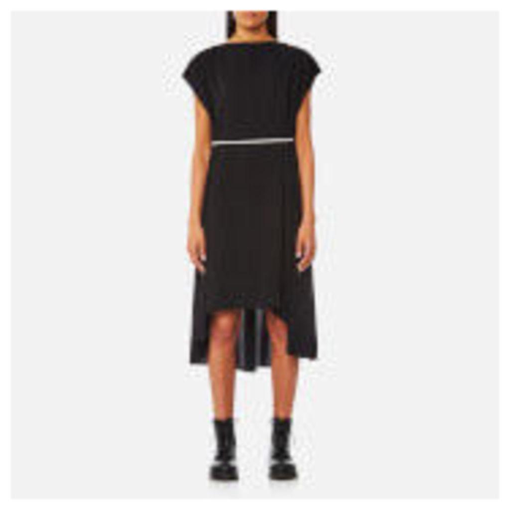 MM6 Maison Margiela Women's Elongated Back Dress with Pearl Tie Belt - Black - IT 44/UK 12 - Black