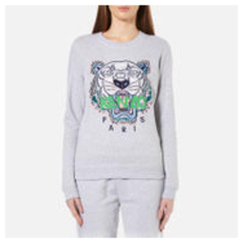 KENZO Women's Embroidered Tiger On Light Cotton Molleton Sweatshirt - Light Grey - XS - Grey