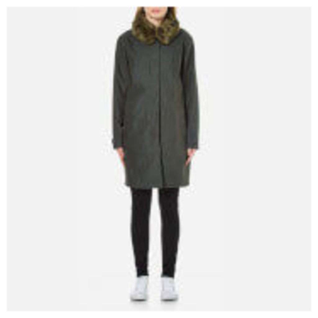 Ilse Jacobsen Women's Oil Skin Faux Collar Coat - Forest - EU 34/UK 6 - Green