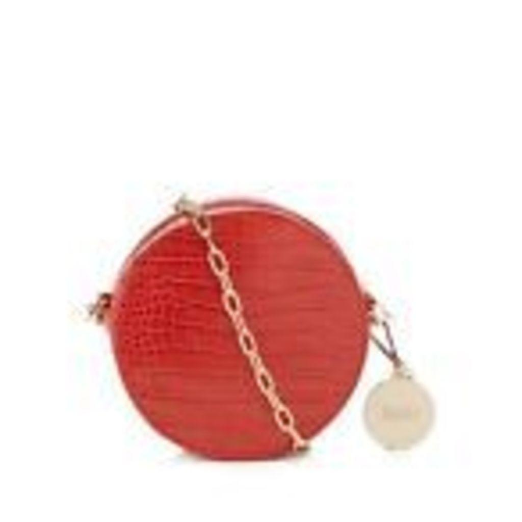 Faith Womens Orange Croc-Effect Circle Cross Body Bag From Debenhams