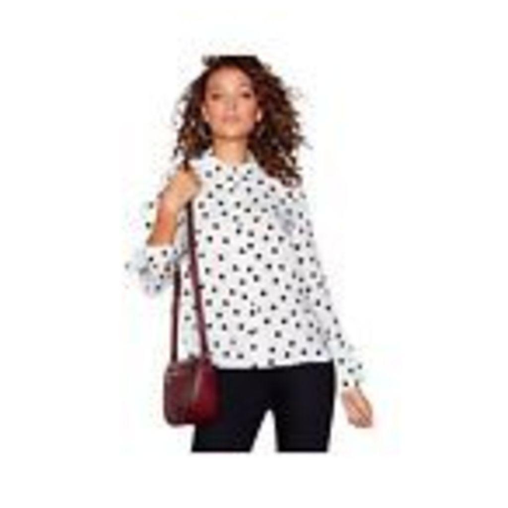 Red Herring Womens White Polka Dot Flared Cuff Shirt From Debenhams 8
