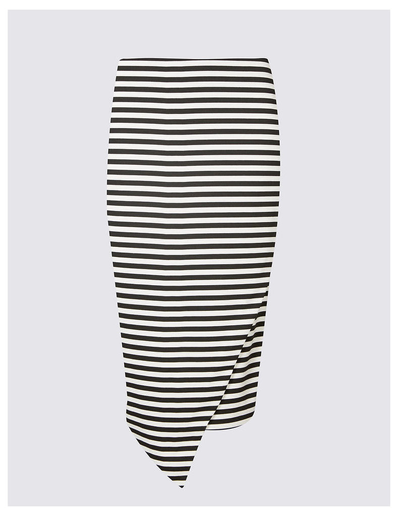 M&S Collection Striped Asymmetric Wrap Pencil Midi Skirt