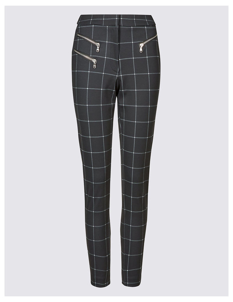 M&S Collection Ponte Checked Skinny Leg Trousers