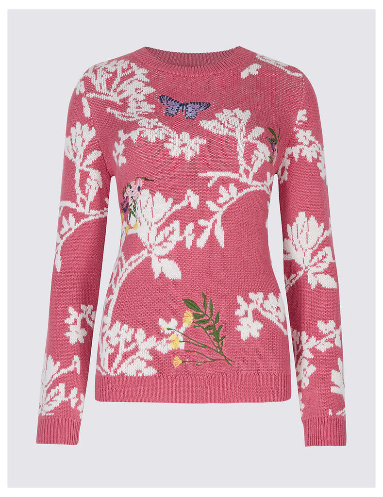 M&S Collection Cotton Rich Floral Print Round Neck Jumper