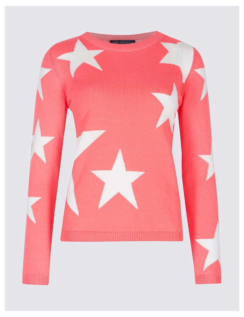 M&S Collection Pure Cotton Star Print Round Neck Jumper