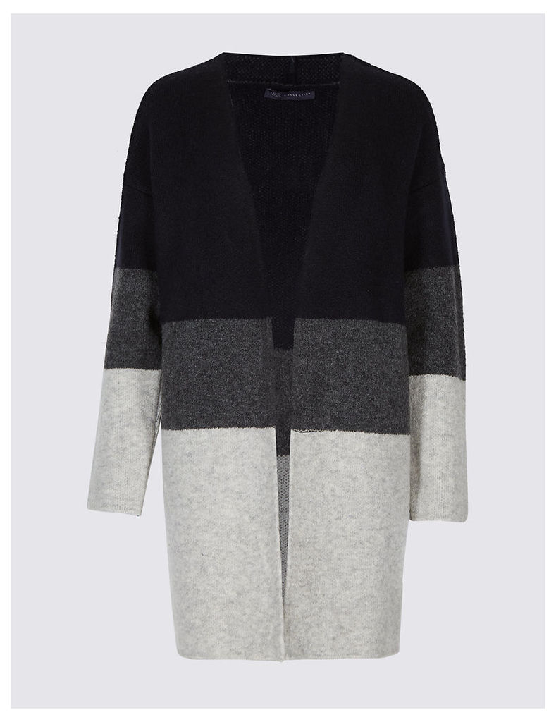M&S Collection Colour Block Longline Open Front Cardigan