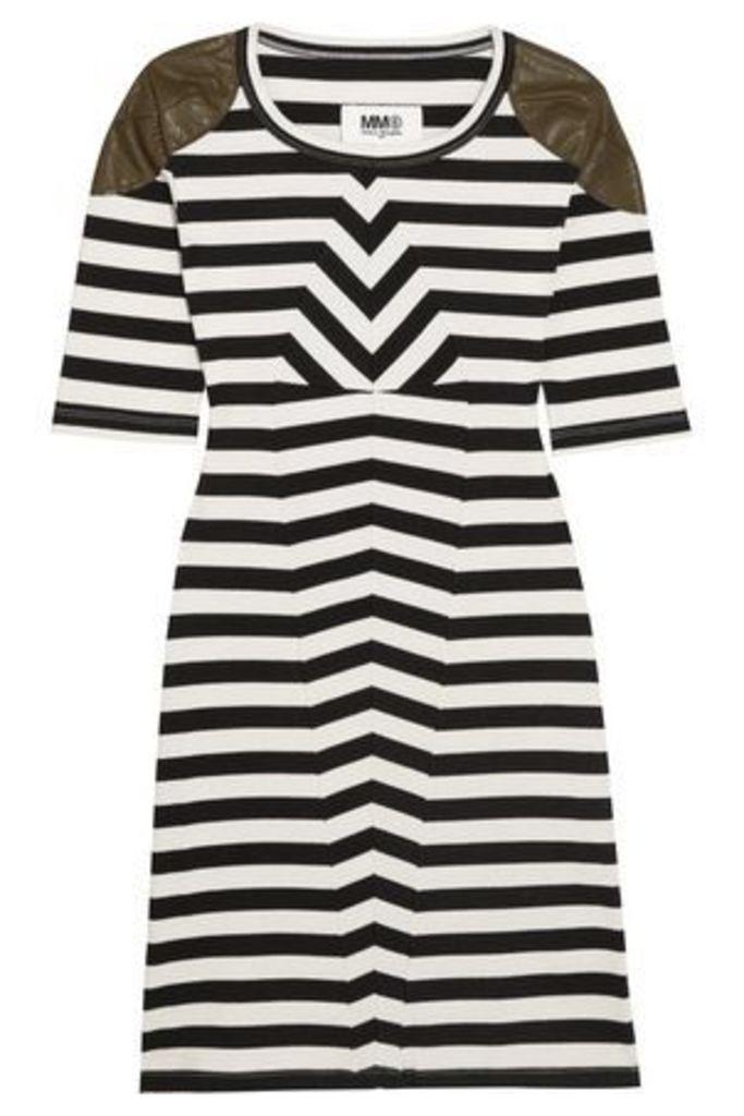 Mm6 Maison Margiela Woman Faux Leather-trimmed Striped Stretch-cotton Mini Dress Black Size L