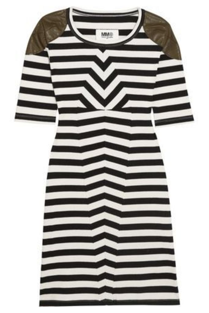Mm6 Maison Margiela Woman Faux Leather-trimmed Striped Stretch-cotton Mini Dress Black Size L