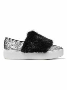 Lorelai Mink Fur & Metallic Skate Sneakers