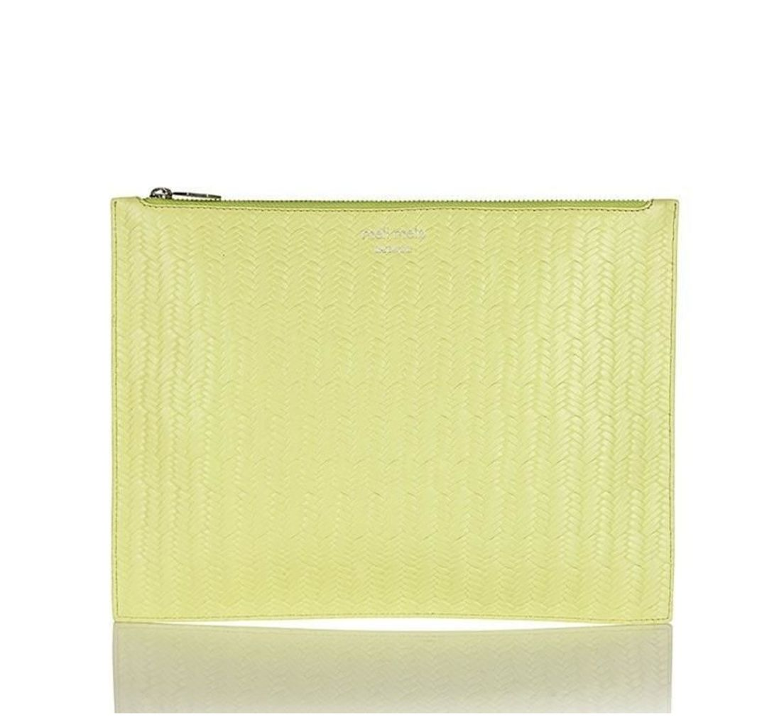 Thela Oversized Clutch Lime Woven
