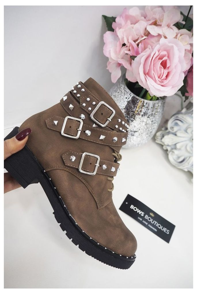 Foxy TAUPE Stud And Buckle Ankle Biker Boots