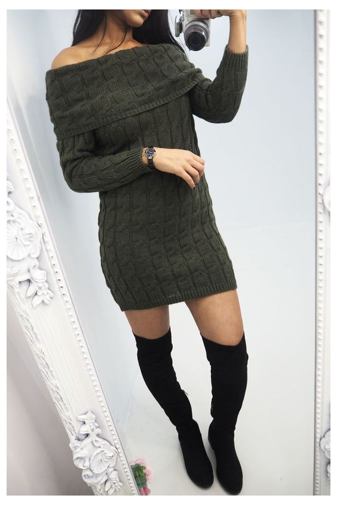 Tristan Khaki bardot Cable Knitted Jumper Dress
