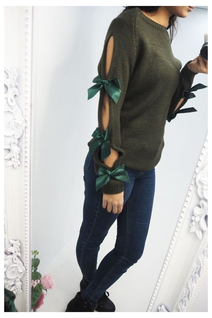 China knitted bow sleeve jumper