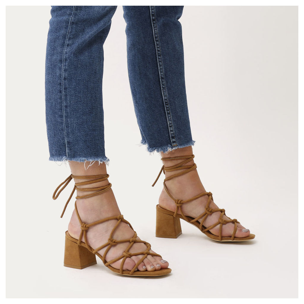 Freya Knotted Strappy Block Heeled Sandals  Faux Suede, Tan