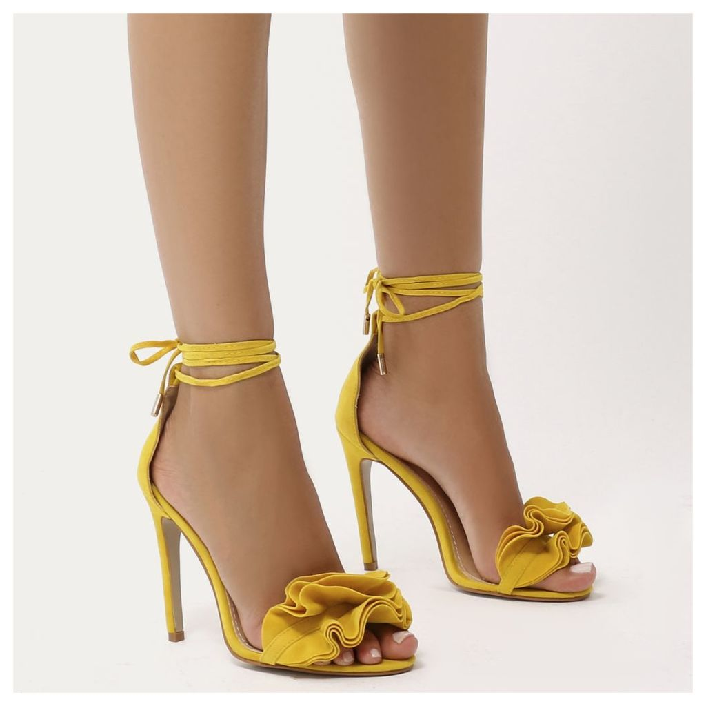 Sugar Ruffle Lace Up Barely There Heels  Faux Suede, Yellow