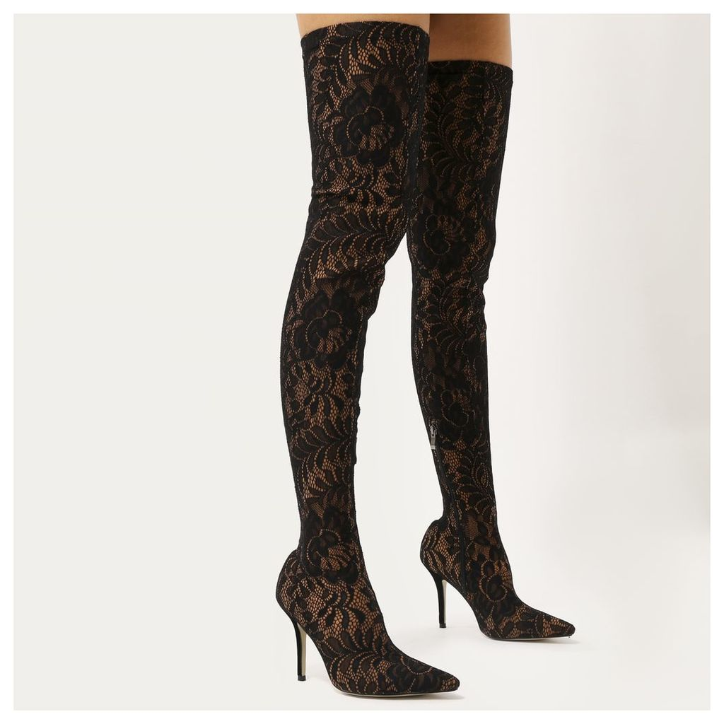 Cinnamon Sock Fit Pointed Toe Over The Knee Boots  Lace, Black
