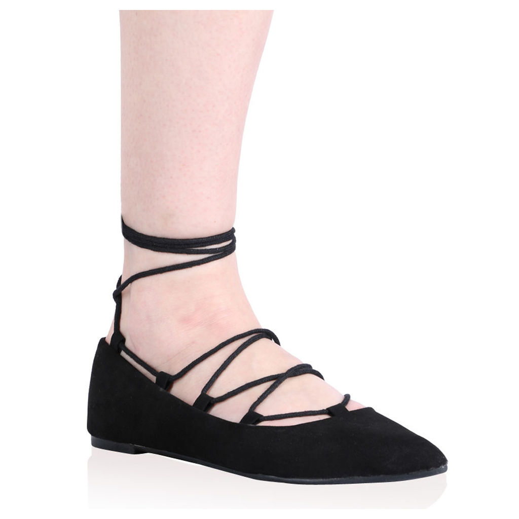 Siri Lace Up Flats  Faux Suede, Black
