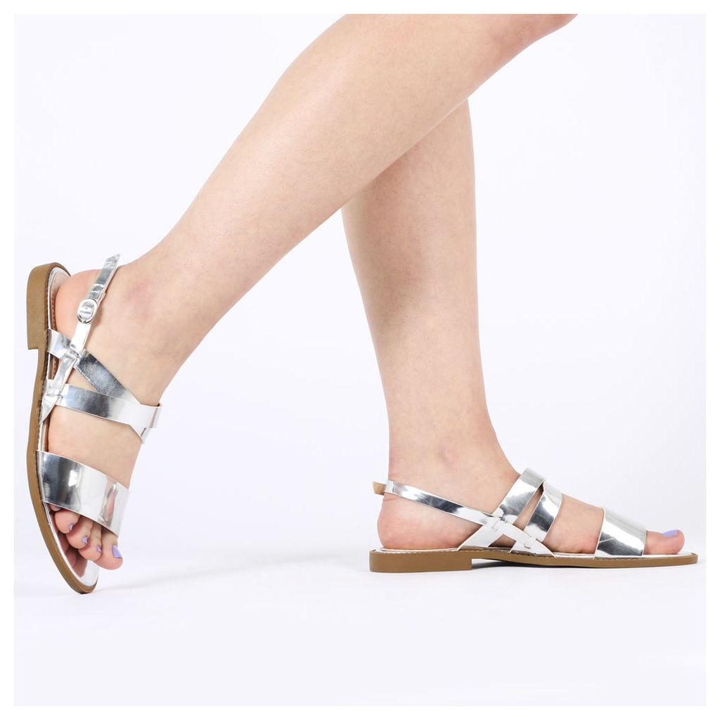 Summer Flat Cross Over Sandal, Silver