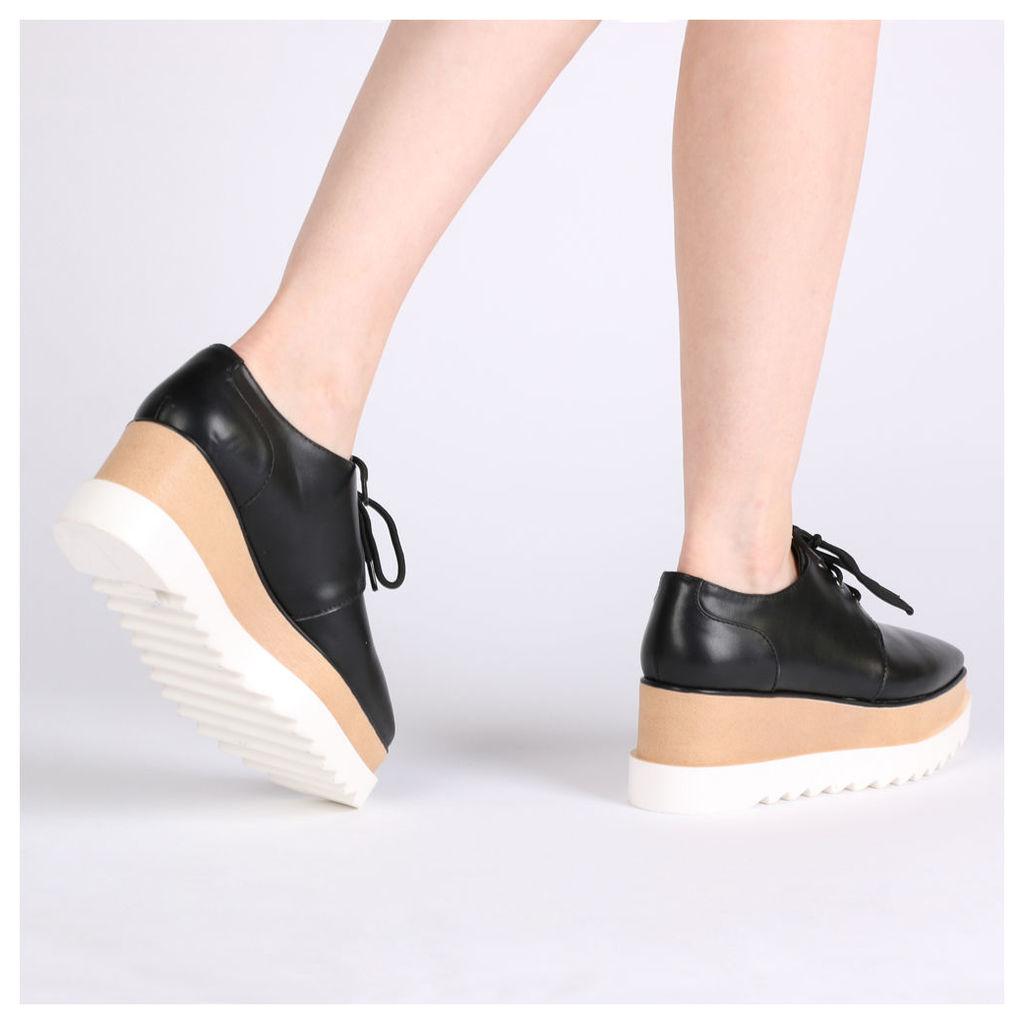 Maya Stacked Flatform Shoes, Black