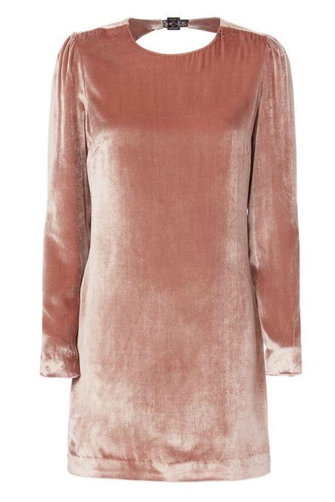 Velvet Mini Dress Platinum Rose