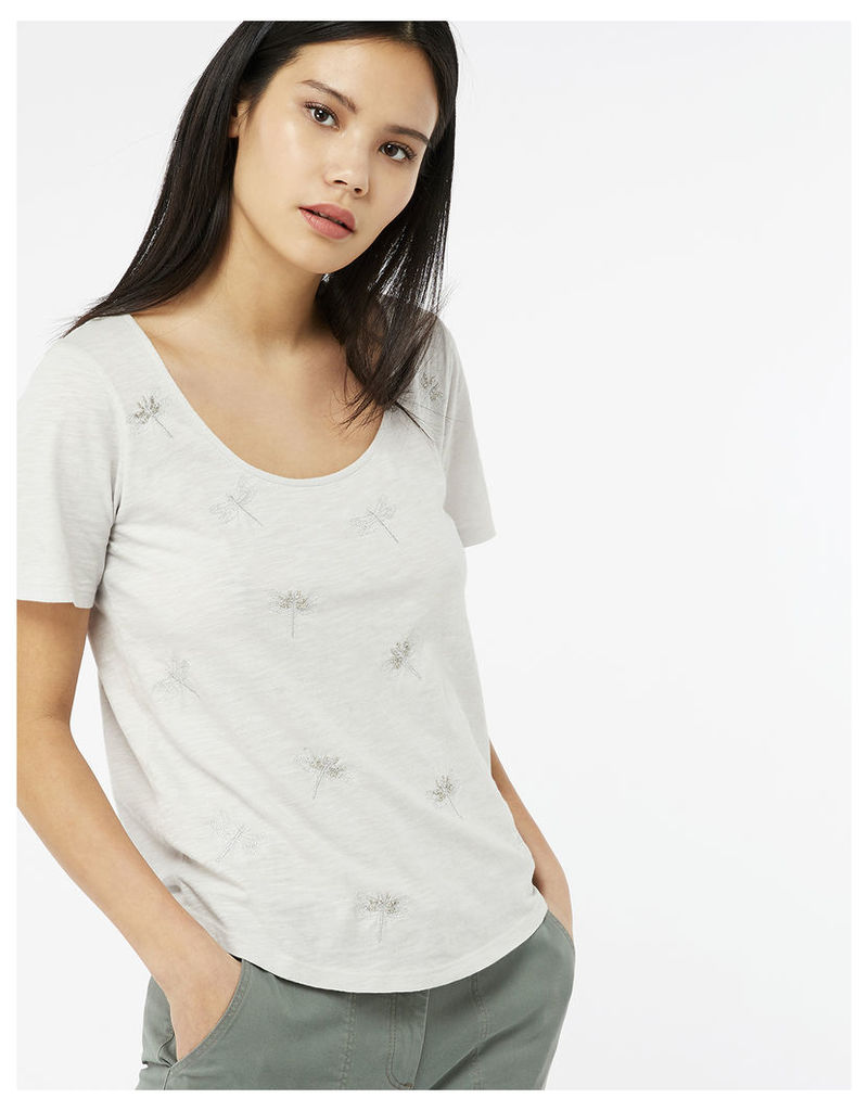Delilah Dragonfly Embroidered T-shirt