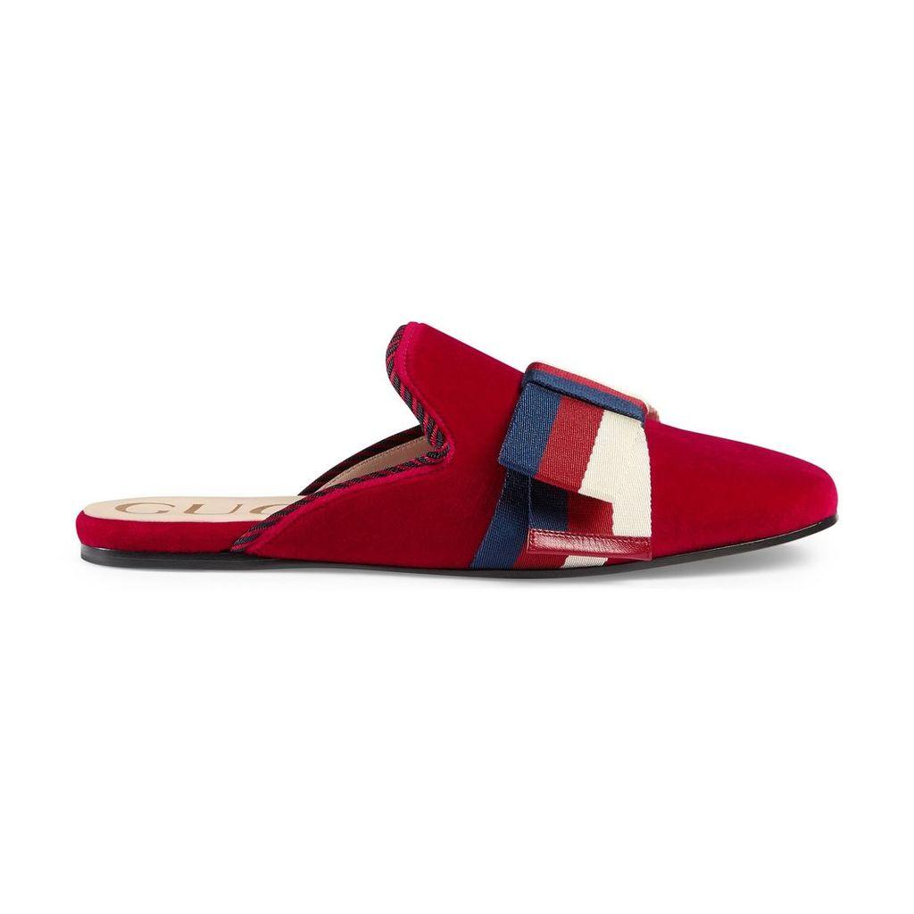 Velvet slipper with Sylvie bow