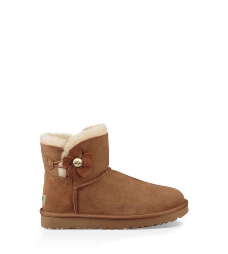 UGG Mini Bailey Button Poppy Womens Boots Chestnut 7