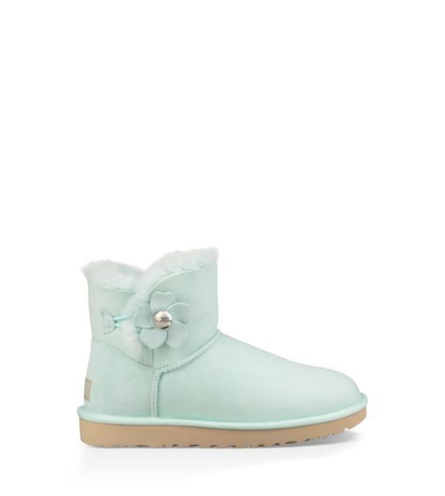 UGG Mini Bailey Button Poppy Womens Boots Aqua 3