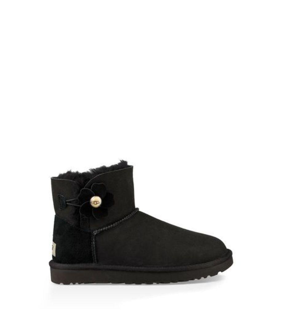 UGG Mini Bailey Button Poppy Womens Boots Black 5