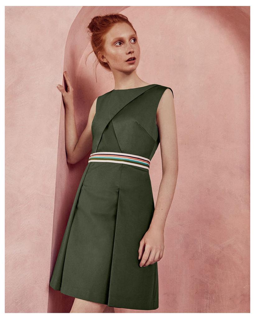 Ted Baker Striped detail sleeveless dress Khaki