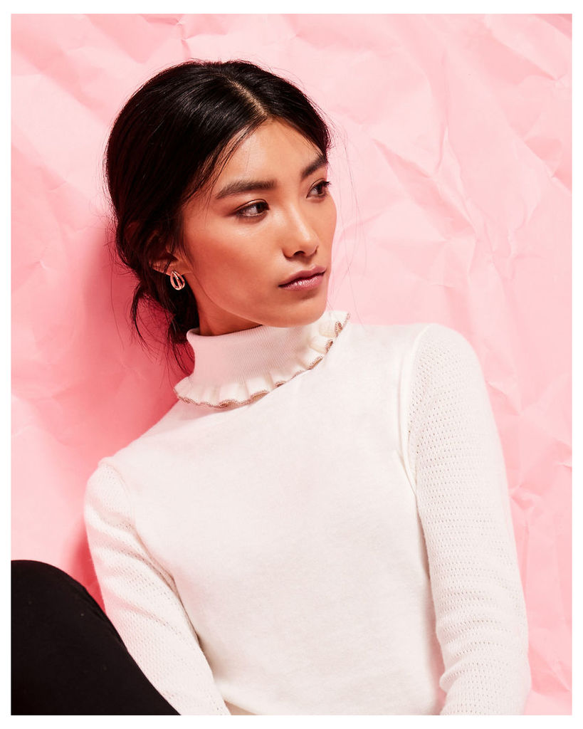 Ted Baker Frilled cotton and silk-blend roll neck jumper Ivory