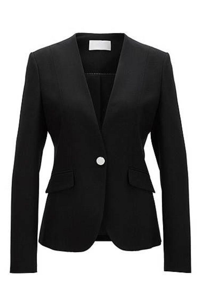Regular-fit jacket in stretch virgin wool