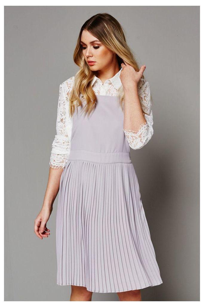 Fashion Union Pleated Dress - Grey