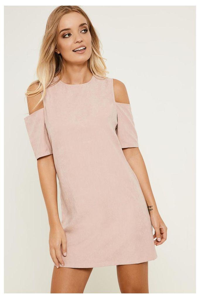 Fashion Union Cold Shoulder Faux Suede Dress - Pink