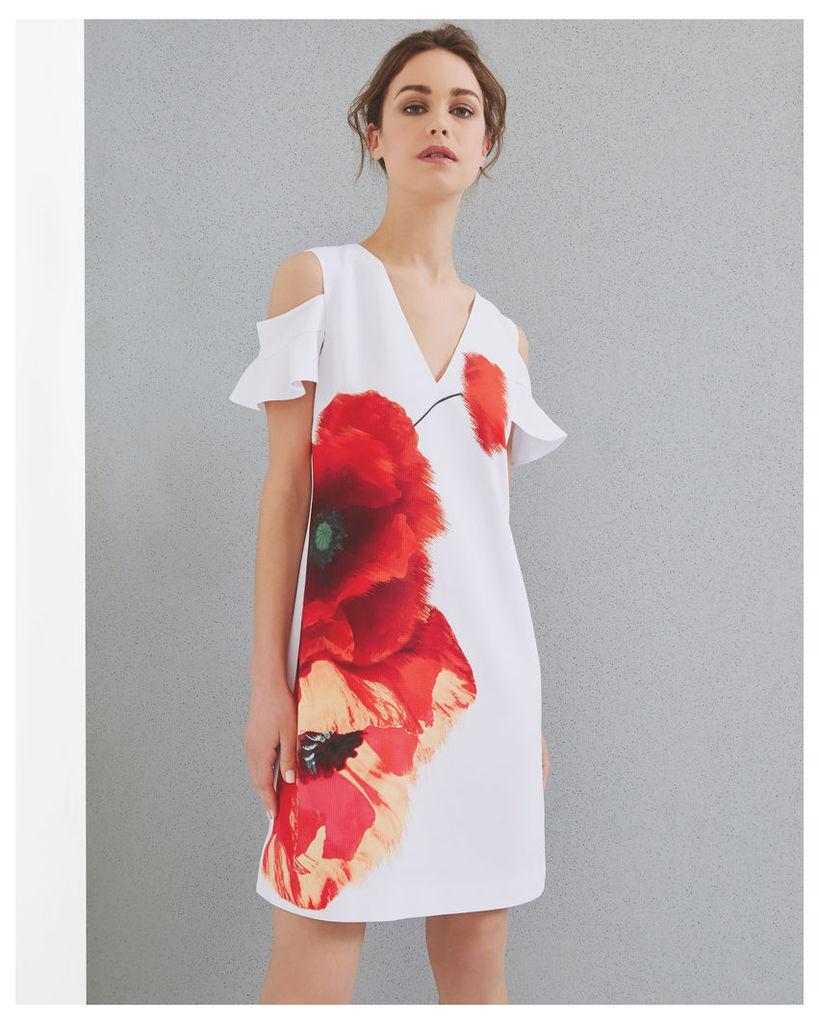 Ted Baker Playful Poppy cut-out shoulder dress White