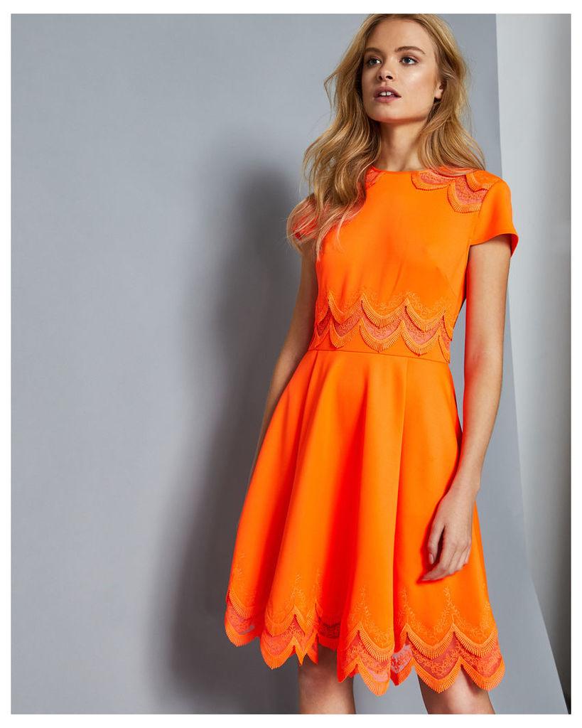 Ted Baker Embroidered skater dress Orange