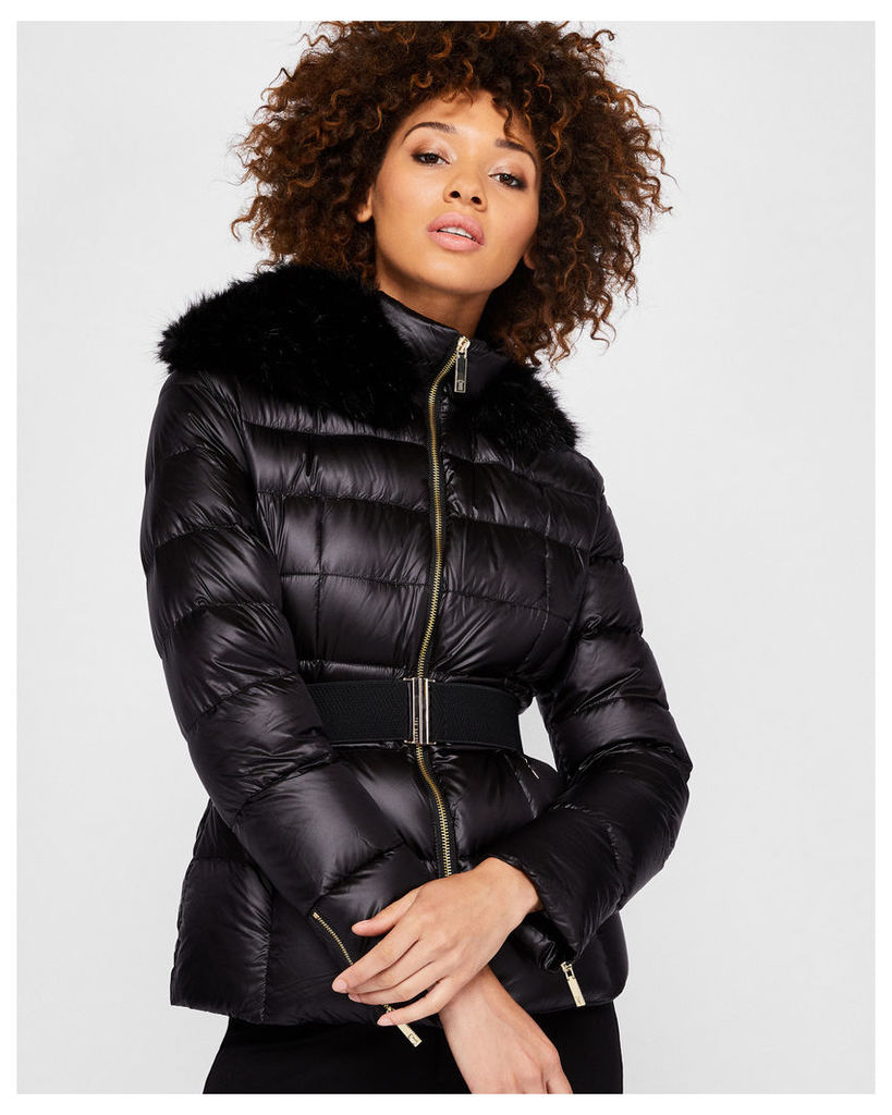 Ted Baker Faux fur collar quilted jacket Black