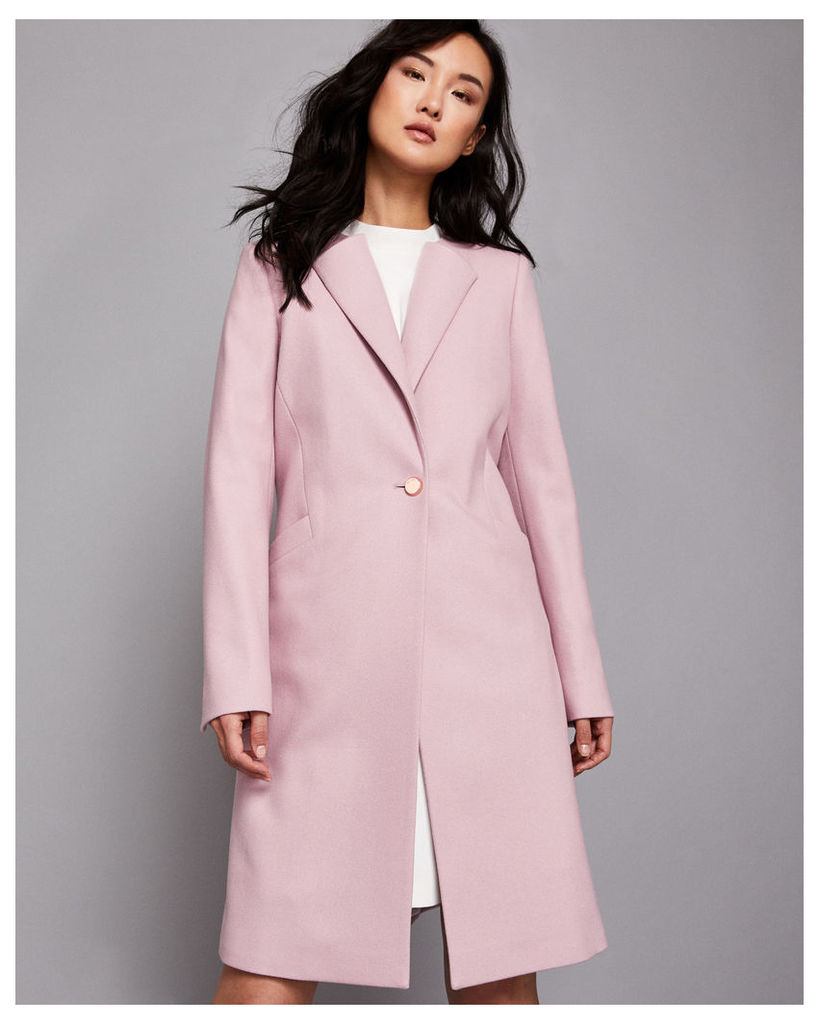 Ted Baker Collarless wool coat Dusky Pink