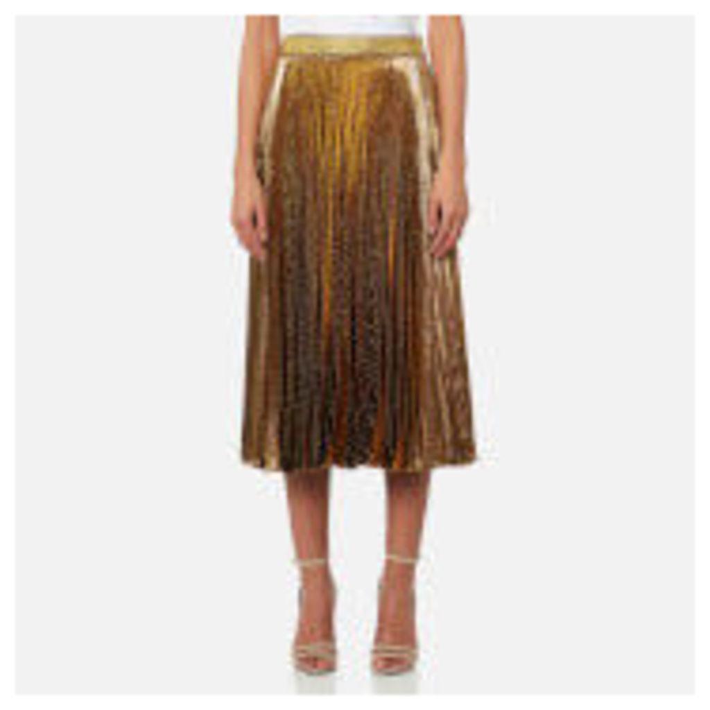 Christopher Kane Women's Midi Pleated Lame Skirt - Gold - IT 42/UK 10 - Gold