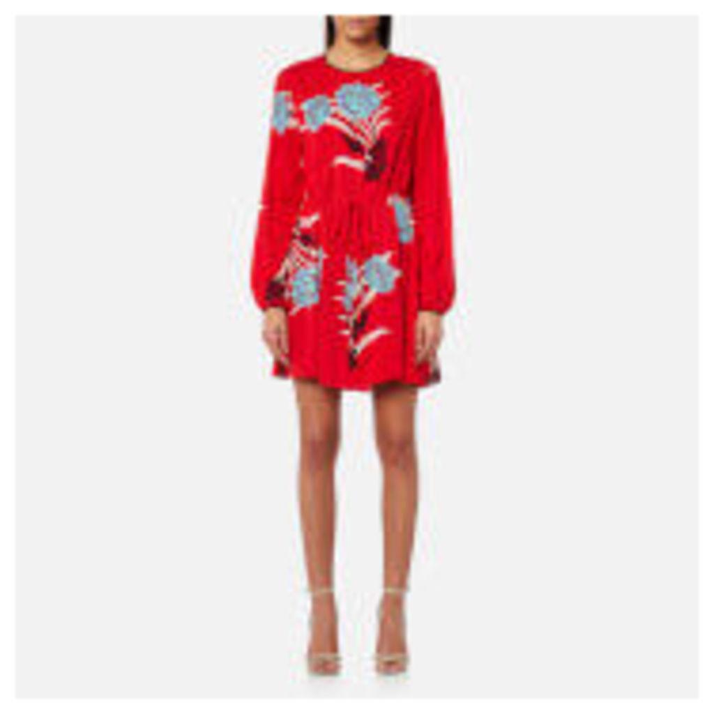 Diane von Furstenberg Women's Crew Neck Mini Dress - Farren Lipstick - US 6/UK 10 - Red