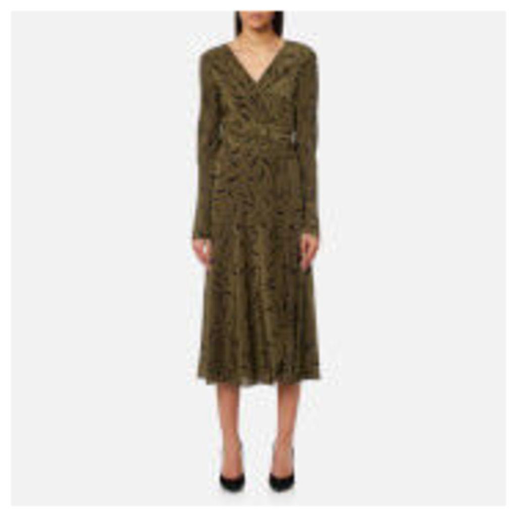 Diane von Furstenberg Women's Long Sleeve Midi Woven Wrap Dress - Shelton Olive - US 6/UK 10 - Green