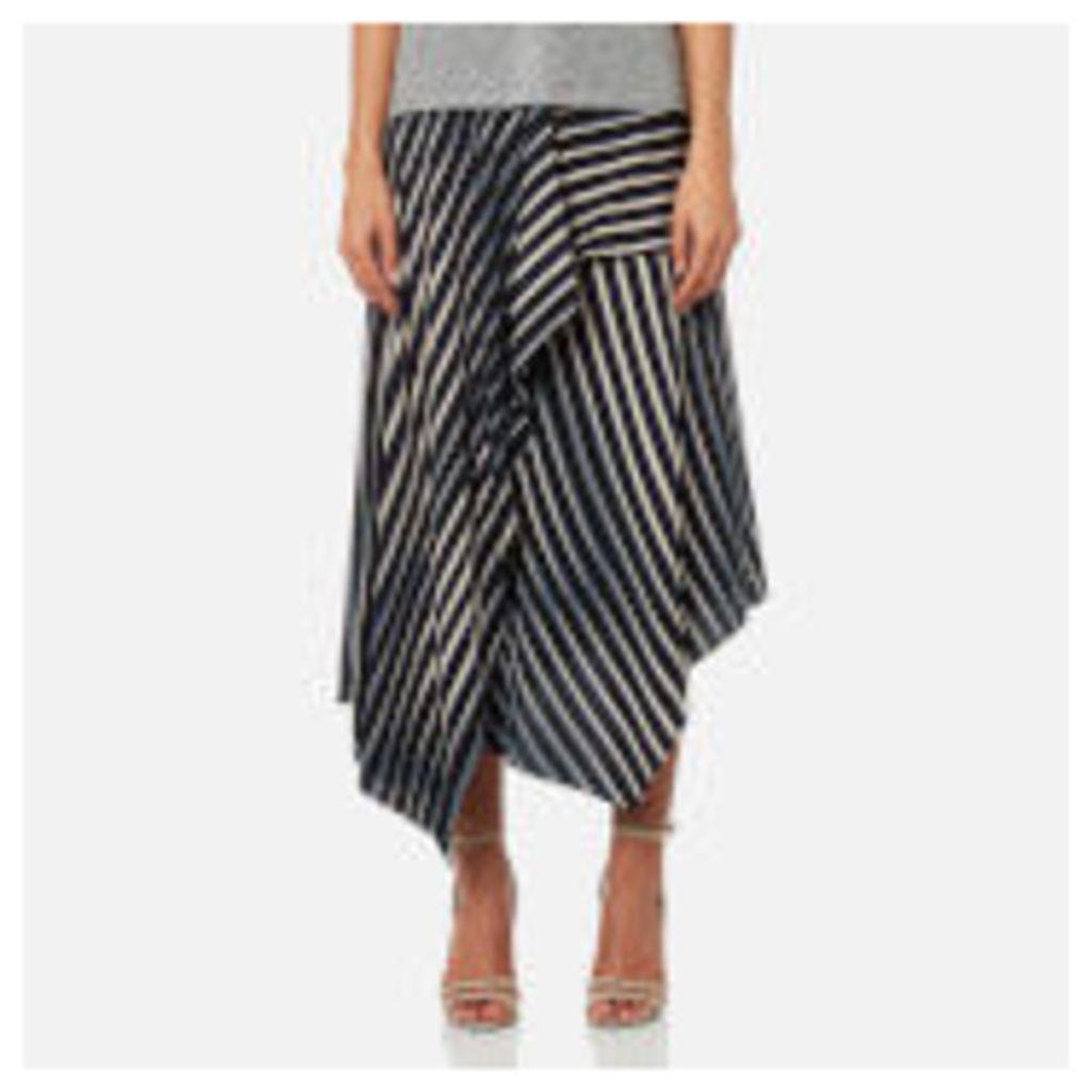 Diane von Furstenberg Women's Draped Asymmetric Midi Skirt - Whiston Black - US 6/UK 10 - Multi