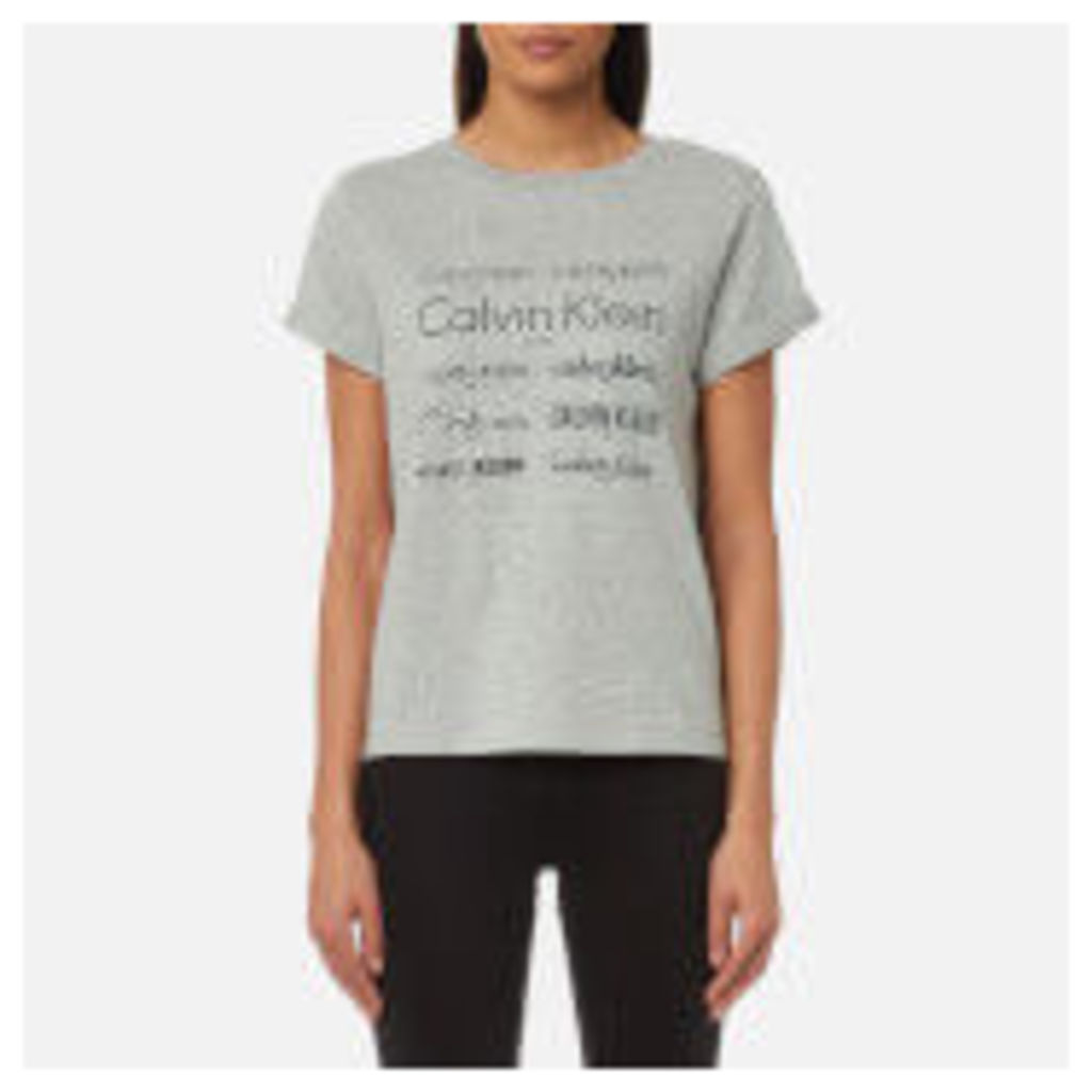 Calvin Klein Women's Short Sleeve Crew Neck T-Shirt - Heritage Logo Grey - XS - Grey