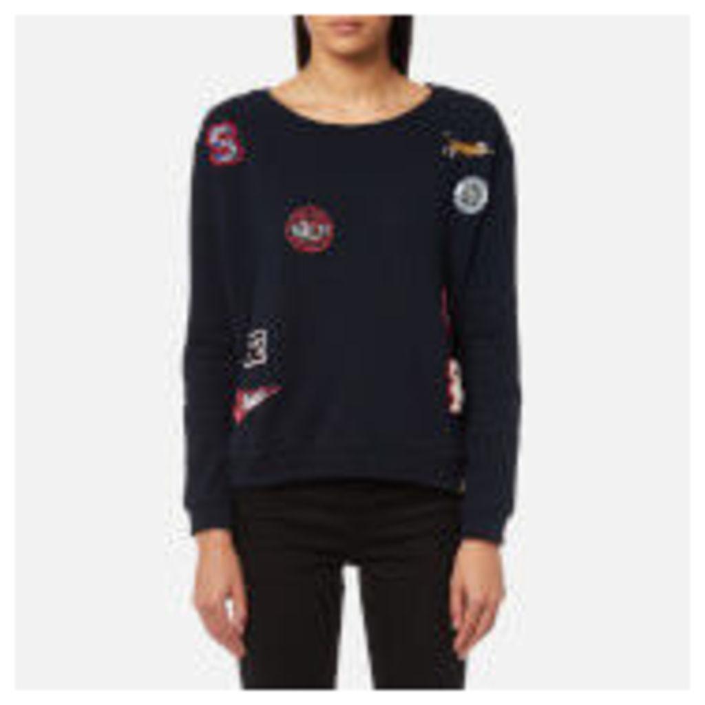 Superdry Women's Varsity Badge Crew Neck Sweatshirt - Captain Navy - XS - Navy