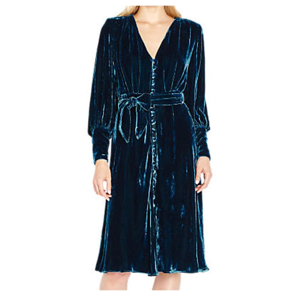 Ghost Riley Velvet Dress, Deep Teal
