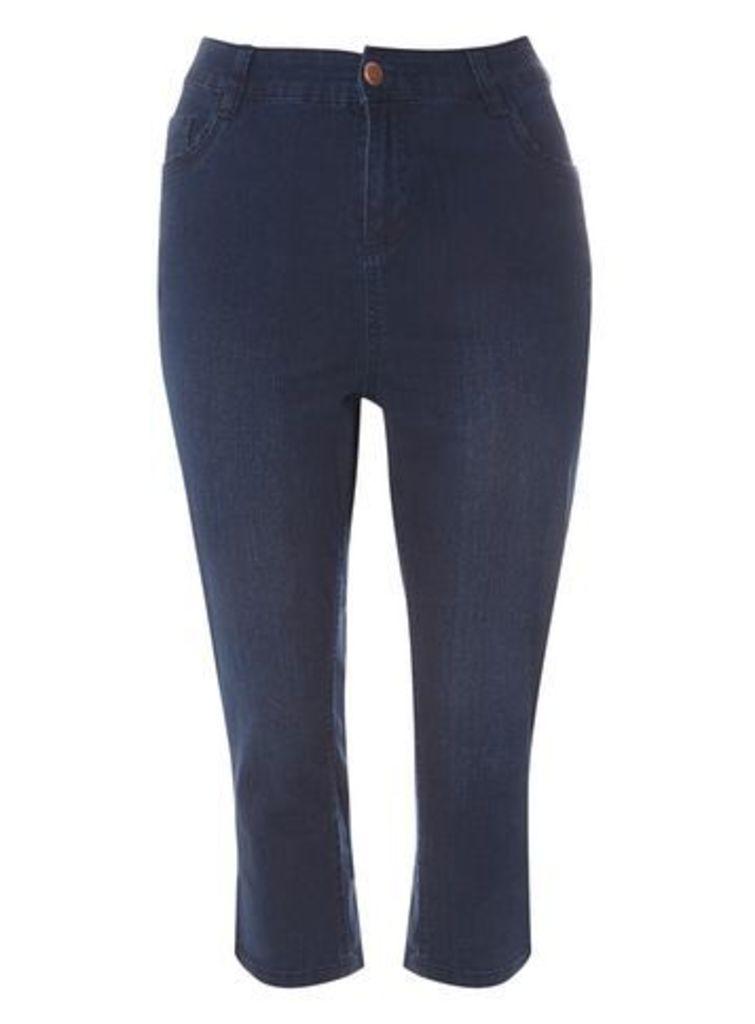 Indigo Denim Pear Fit Cropped Jeans, Denim